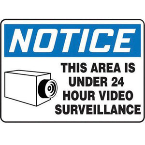 "Accuform Signs 10"" X 14"" Black, Blue And White 4 mils Adhesive Vinyl Admittance And Exit Sign ""NOTICE THIS AREA IS UNDER 24 HOUR VIDEO SURVEILLANCE"""