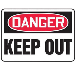 "Accuform Signs 7"" X 10"" Black, Red And White 4 mils Adhesive Vinyl Admittance And Exit Sign ""DANGER KEEP OUT"""