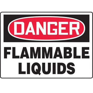 "Accuform Signs 7"" X 10"" Black, Red And White 0.040"" Aluminum Chemicals And Hazardous Materials Sign ""DANGER FLAMMABLE LIQUIDS"" With Round Corner"