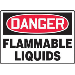 "Accuform Signs 10"" X 14"" Black, Red And White 4 mils Adhesive Vinyl Chemicals And Hazardous Materials Sign ""DANGER FLAMMABLE LIQUIDS"""