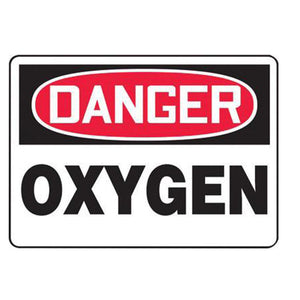 "Accuform Signs 7"" X 10"" Black, Red And White 0.055"" Plastic Chemicals And Hazardous Materials Sign ""DANGER OXYGEN"" With 3/16"" Mounting Hole And Round Corner"