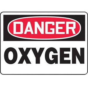 "Accuform Signs 7"" X 10"" Black, Red And White 4 mils Adhesive Vinyl Chemicals And Hazardous Materials Sign ""DANGER OXYGEN"""