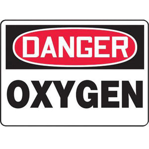 "Accuform Signs 10"" X 14"" Black, Red And White 0.040"" Aluminum Chemicals And Hazardous Materials Sign ""DANGER OXYGEN"" With Round Corner"