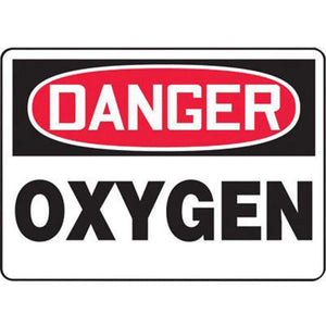 "Accuform Signs 10"" X 14"" Black, Red And White 0.055"" Plastic Chemicals And Hazardous Materials Sign ""DANGER OXYGEN"" With 3/16"" Mounting Hole And Round Corner"