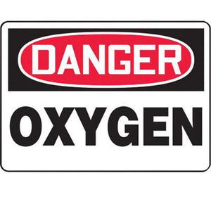 "Accuform Signs 10"" X 14"" Black, Red And White 4 mils Adhesive Vinyl Chemicals And Hazardous Materials Sign ""DANGER OXYGEN"""