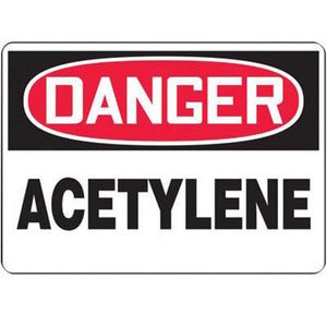 "Accuform Signs 10"" X 14"" Black, Red And White 0.055"" Plastic Chemicals And Hazardous Materials Sign ""DANGER ACETYLENE"" With 3/16"" Mounting Hole And Round Corner"