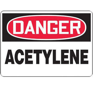 "Accuform Signs 10"" X 14"" Black, Red And White 4 mils Adhesive Vinyl Chemicals And Hazardous Materials Sign ""DANGER ACETYLENE"""