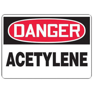 "Accuform Signs 7"" X 10"" Black, Red And White 0.040"" Aluminum Chemicals And Hazardous Materials Sign ""DANGER ACETYLENE"" With Round Corner"