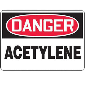 "Accuform Signs 7"" X 10"" Black, Red And White 0.055"" Plastic Chemicals And Hazardous Materials Sign ""DANGER ACETYLENE"" With 3/16"" Mounting Hole And Round Corner"