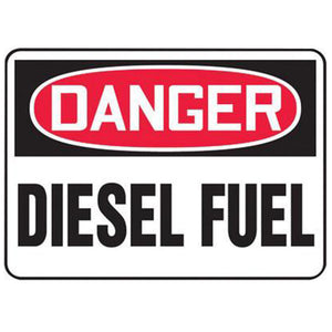 "Accuform Signs 10"" X 14"" Black, Red And White 0.040"" Aluminum Chemicals And Hazardous Materials Sign ""DANGER DIESEL FUEL"" With Round Corner"