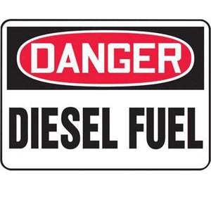 "Accuform Signs 10"" X 14"" Black, Red And White 0.055"" Plastic Chemicals And Hazardous Materials Sign ""DANGER DIESEL FUEL"" With 3/16"" Mounting Hole And Round Corner"