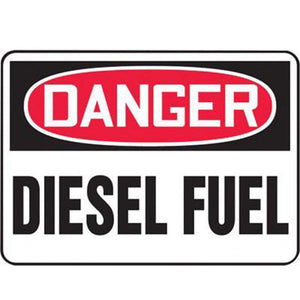 "Accuform Signs 10"" X 14"" Black, Red And White 4 mils Adhesive Vinyl Chemicals And Hazardous Materials Sign ""DANGER DIESEL FUEL"""