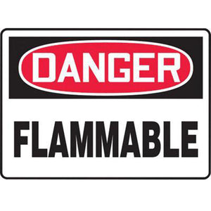 "Accuform Signs 10"" X 14"" Black, Red And White 0.040"" Aluminum Chemicals And Hazardous Materials Sign ""DANGER FLAMMABLE"" With Round Corner"
