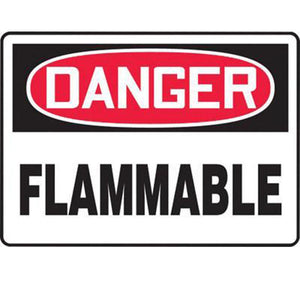 "Accuform Signs 10"" X 14"" Black, Red And White 4 mils Adhesive Vinyl Chemicals And Hazardous Materials Sign ""DANGER FLAMMABLE"""