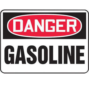 "Accuform Signs 10"" X 14"" Black, Red And White 0.055"" Plastic Chemicals And Hazardous Materials Sign ""DANGER GASOLINE"" With 3/16"" Mounting Hole And Round Corner"