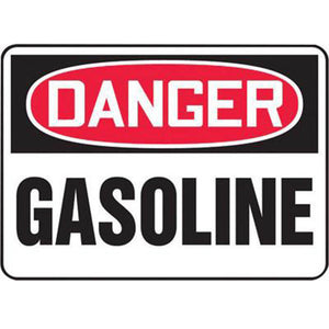"Accuform Signs 10"" X 14"" Black, Red And White 4 mils Adhesive Vinyl Chemicals And Hazardous Materials Sign ""DANGER GASOLINE"""