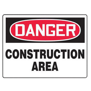 "Accuform Signs 7"" X 10"" Black, Red And White 0.040"" Aluminum Admittance And Exit Construction Access Sign ""DANGER CONSTRUCTION AREA KEEP OUT"" With Round Corner"