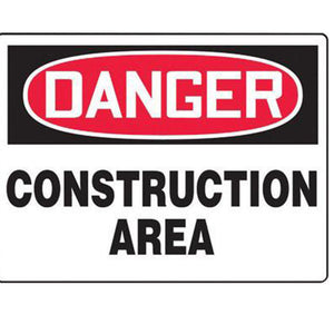 "Accuform Signs 7"" X 10"" Black, Red And White 4 mils Adhesive Vinyl Admittance And Exit Sign ""DANGER CONSTRUCTION AREA KEEP OUT"""