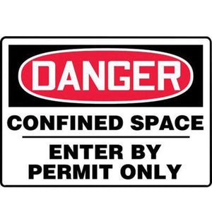 "Accuform Signs MCSP133VA 7"" X 10"" Black, Red And White 0.040"" Aluminum Sign ""DANGER CONFINED SPACE ENTER BY PERMIT ONLY"" With Round Corner"