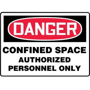 "Accuform Signs 10"" X 14"" Black, Red And White 0.055"" Plastic Sign ""DANGER CONFINED SPACE AUTHORIZED PERSONNEL ONLY"" With 3/16"" Mounting Hole And Round Corner"