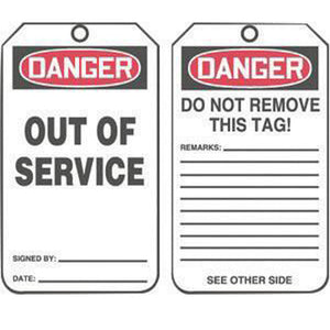 "Accuform Signs 5 3/4"" X 3 1/4"" Red, Black And White 10 mil PF-Cardstock English Safety Tag ""DANGER OUT OF SERVICE/DANGER DO NOT REMOVE THIS TAG! REMARKS …"" With 3/8"" Plain Hole And Standard Back B"