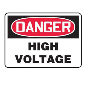 "Accuform Signs 7"" X 10"" Black, Red And White 0.040"" Aluminum Electrical Sign ""DANGER HIGH VOLTAGE"" With Round Corner"