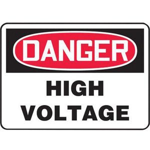 "Accuform Signs 7"" X 10"" Black, Red And White 0.055"" Plastic Electrical Sign ""DANGER HIGH VOLTAGE"" With 3/16"" Mounting Hole And Round Corner"