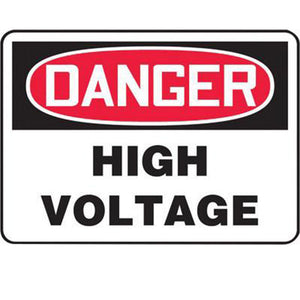 "Accuform Signs 7"" X 10"" Black, Red And White 4 mils Adhesive Vinyl Electrical Sign ""DANGER HIGH VOLTAGE"""
