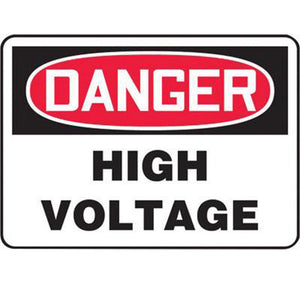 "Accuform Signs 10"" X 14"" Black, Red And White 0.055"" Plastic Electrical Sign ""DANGER HIGH VOLTAGE"" With 3/16"" Mounting Hole And Round Corner"