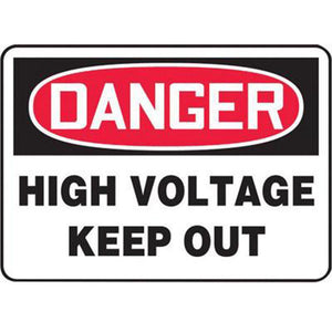 "Accuform Signs 10"" X 14"" Black, Red And White 0.040"" Aluminum Electrical Sign ""DANGER HIGH VOLTAGE KEEP OUT"" With Round Corner"