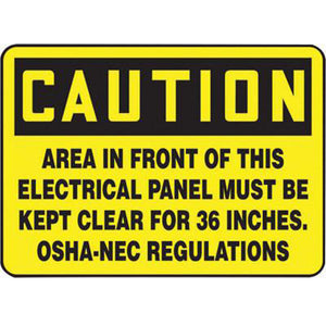"Accuform Signs 10"" X 14"" Black And Yellow 0.055"" Plastic Electrical Sign ""CAUTION AREA IN FRONT OF THIS ELECTRICAL PANEL MUST BE KEPT CLEAR FOR 36 INCHES. OSHA-NEC REGULATIONS"" With"