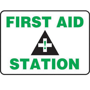 "Accuform Signs 7"" X 10"" Black, Green And White 0.055"" Plastic First Aid Sign ""FIRST AID STATION "" With 3/16"" Mounting Hole And Round Corner"