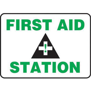 "Accuform Signs 10"" X 14"" Black, Green And White 4 mils Adhesive Vinyl First Aid Sign ""FIRST AID STATION """