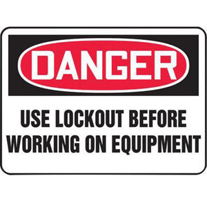 "Accuform Signs 10"" X 14"" Black, Red And White 4 mils Adhesive Vinyl Lockout/Tagout Sign ""DANGER USE LOCKOUT BEFORE WORKING ON EQUIPMENT"""
