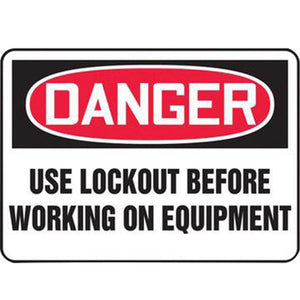 "Accuform Signs 7"" X 10"" Black, Red And White 0.040"" Aluminum Lockout/Tagout Sign ""DANGER USE LOCKOUT BEFORE WORKING ON EQUIPMENT"" With Round Corner"