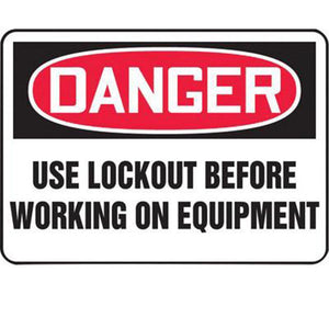 "Accuform Signs 7"" X 10"" Black, Red And White 0.055"" Plastic Lockout/Tagout Sign ""DANGER USE LOCKOUT BEFORE WORKING ON EQUIPMENT"" With 3/16"" Mounting Hole And Round Corner"