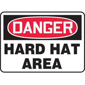 "Accuform Signs 7"" X 10"" Black, Red And White 0.040"" Aluminum PPE Sign ""DANGER HARD HAT AREA"" With Round Corner"