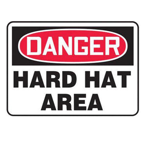 "Accuform Signs 7"" X 10"" Black, Red And White 0.055"" Plastic PPE Sign ""DANGER HARD HAT AREA"" With 3/16"" Mounting Hole And Round Corner"