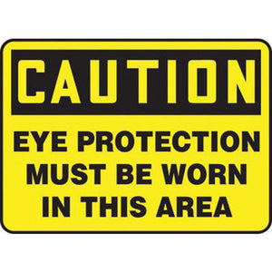 "Accuform Signs 7"" X 10"" Black And Yellow 0.040"" Aluminum PPE Sign ""CAUTION EYE PROTECTION MUST BE WORN IN THIS AREA"" With Round Corner"