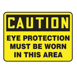 "Accuform Signs 7"" X 10"" Black And Yellow 4 mils Adhesive Vinyl PPE Sign ""CAUTION EYE PROTECTION MUST BE WORN IN THIS AREA"""
