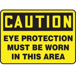 "Accuform Signs 10"" X 14"" Black And Yellow 0.040"" Aluminum PPE Sign ""CAUTION EYE PROTECTION MUST BE WORN IN THIS AREA"" With Round Corner"