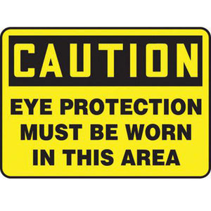 "Accuform Signs 10"" X 14"" Black And Yellow 4 mils Adhesive Vinyl PPE Sign ""CAUTION EYE PROTECTION MUST BE WORN IN THIS AREA"""