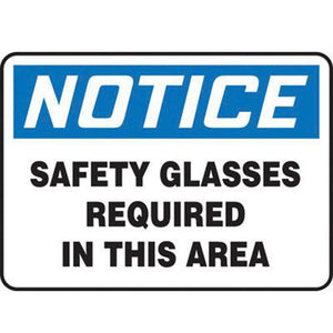 "Accuform Signs 10"" X 14"" Black, Blue And White 4 mils Adhesive Vinyl PPE Sign ""NOTICE SAFETY GLASSES REQUIRED IN THIS AREA"""
