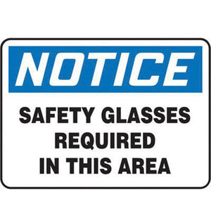 "Accuform Signs 7"" X 10"" Black, Blue And White 0.055"" Plastic PPE Sign ""NOTICE SAFETY GLASSES REQUIRED IN THIS AREA"" With 3/16"" Mounting Hole And Round Corner"