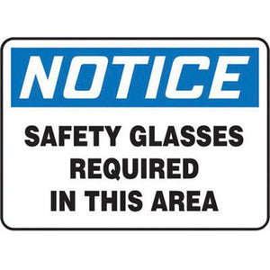 "Accuform Signs 7"" X 10"" Black, Blue And White 4 mils Adhesive Vinyl PPE Sign ""NOTICE SAFETY GLASSES REQUIRED IN THIS AREA"""