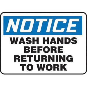 "Accuform Signs 7"" X 10"" Black, Blue And White 0.055"" Plastic Housekeeping Sign ""NOTICE WASH HANDS BEFORE RETURNING TO WORK"" With 3/16"" Mounting Hole And Round Corner"