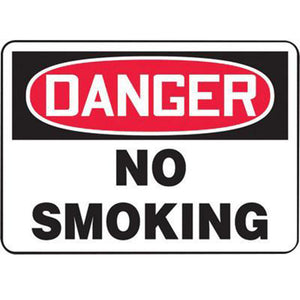 "Accuform Signs 7"" X 10"" Black, Red And White 0.040"" Aluminum Smoking Control Sign ""DANGER NO SMOKING"" With Round Corner"
