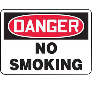 "Accuform Signs 7"" X 10"" Black, Red And White 0.055"" Plastic Smoking Control Sign ""DANGER NO SMOKING"" With 3/16"" Mounting Hole And Round Corner"