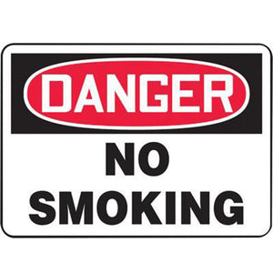 "Accuform Signs 7"" X 10"" Black, Red And White 4 mils Adhesive Vinyl Smoking Control Sign ""DANGER NO SMOKING"""