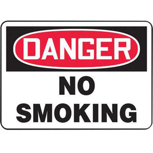 "Accuform Signs 10"" X 14"" Black, Red And White 4 mils Adhesive Vinyl Smoking Control Sign ""DANGER NO SMOKING"""